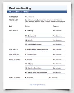 Geschäftsbesprechung Agenda Vorlagen